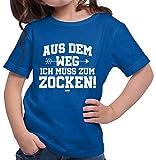 HARIZ  Mädchen T-Shirt Aus Dem Weg Zocken Gamer Gaming Sprüche WASD Geburtstag Inkl. Geschenk Karte Royal Blau 116/5-6 Jahre