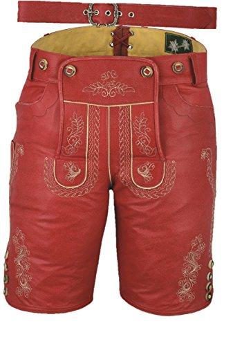 Fuente Lederhose mit Gürtel, echt Leder Nappa antik Trachten Lederhose Herren kurz, Damen Trachtenlederhose mit Gürtel in Rot Vintage (42 EU- Maße im Bild, Antik Rot)