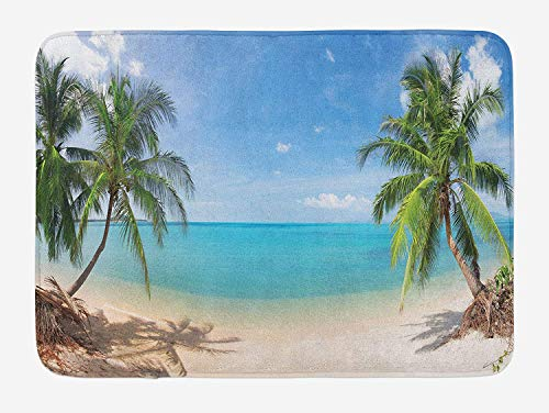 MSGDF Ocean Bath Mat, Panoramic View of Tropical Sandy Beach Exotic Vacation Theme Print, Plush Bathroom Decor Mat with Non Slip Backing, 23.6 W X 15.7 W Inches, Turquoise Green Pale Brown