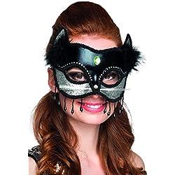 Máscara Negro gato y mujer sexy con piel de plata - One Size