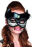 Masque chat noir et sexy avec Argent en cuir–Femme Taille unique