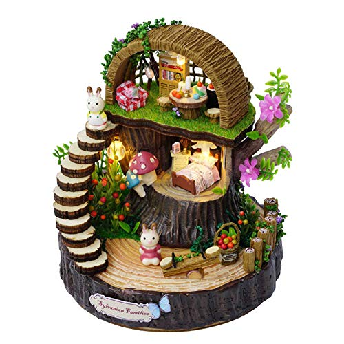 BGFBHTY Armado de Resina Anime Cottages Music Box Mi Vecino Totoro Regalo de cumpleaños Fantasy Forest Candy Cat Figurine