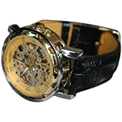 "Men's Stainless Steel Transparent ""Steampunk"" Gold Dial, Skeleton Mechanical Self-wind Automatic, Black Leather Strap Wrist Watch + Gift Box Included"