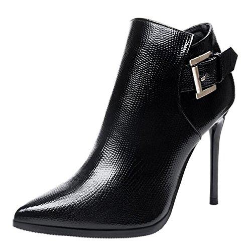 Binying Boots Femme Bout Pointu Métal Aiguille...