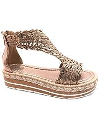 669f5b41006 Angkorly - Chaussure Mode Espadrille Sandale salomés Plateforme Ouvert Femme  tressé Corde Talon compensé…