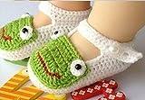 tfxwerws bebé recién nacido calcetines de punto Crochet sandalias zapatos para (blanco) de rana