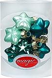 Magic 8 Sterne 4cm Glas Weihnachtsschmuck Weihnachtsdeko Christbaumkugeln Deko Kugeln, Farbe: Green Emerald (Mint Dunkel türkis meerblau)