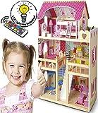 Leomark Casa Delle Bambole Sogno Mansion In Legno Mobili e Accessori Residence 4 Bambole Appartamento Mansion Dolls House Pieghevole 3 Piani