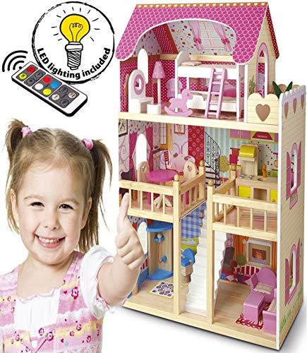 Mansion Casa de Muñecas de Madera Muebles Mobiliario Bella Casita Residencia de Piso Villa Equipo Completo Excelente Calidad Accesorios adicionales Edición Navidad 2019 Color Rosa