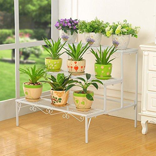 Fioriera a tre piani con montatura a pavimento espositore per fiori in ferro battuto scaffali in vaso per piante da balcone scaffali per scaffali esterni ( color : bianca )