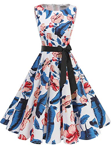 Gardenwed Damen 1950er Vintage Cocktailkleid Rockabilly Retro Schwingen Kleid Faltenrock Royal Blue Flower L Plus Size Kleid Form