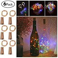 Wine Bottles String Lights, FairyDecor 6 Packs Micro Artificial Cork Copper Wire Starry Fairy Lights, Battery Operated Lights for Bedroom, Parties, Wedding, Decoration(6 Packs 2m/7.2ft,Mutil Color)
