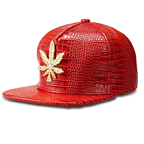 FXSYL Baseball Cap Big Hanfblatt Baseball Caps Gold Strass Hip Hop Dj Rap Hut Männer Frauen Geschenke Maple Snapback Hüte,C2