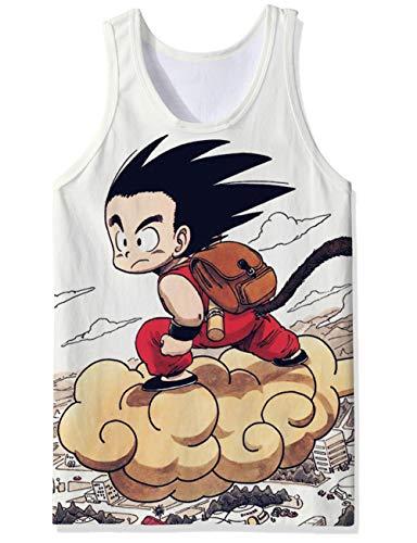 OPCOLV Tropical SummerTanktops Dragonball Tank Shirt Abendessen Saiyajin Goku Japan Manga Weste Tops Ärmelloses Singlet für Saunapool Adventure Race für Jugendliche