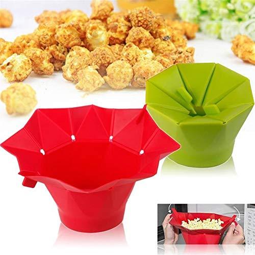 Lucy Day Mikrowellengeeignet Magic Popcorn Maker Faltbare Popcornschale Eimer DIY Küche Backgeschirr (Farbe : Grün)