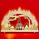 Sikora LB60 beleuchteter LED Holz Schwibbogen SEIFFEN Weihnachtsmarkt B:43cm