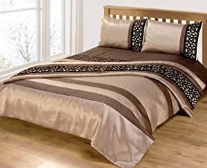 milan dore de luxe pour lit double chocolat noir motif floral brod belle parure de lit amazon. Black Bedroom Furniture Sets. Home Design Ideas