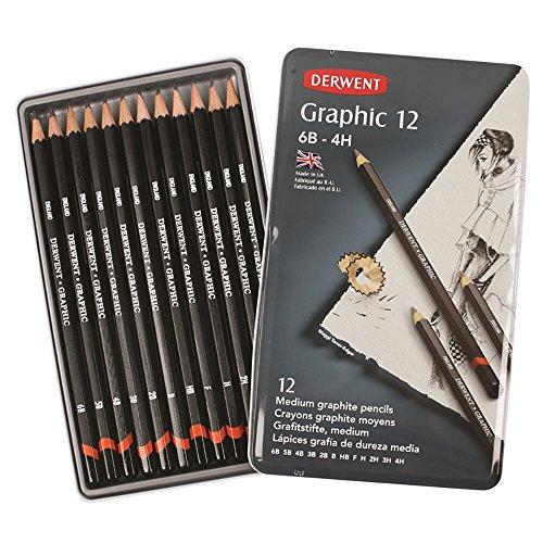 Derwent : Graphic Pencil : Tin Set of 12 : Medium -