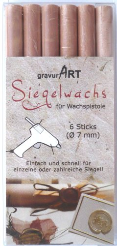 gravurART - 7mm flexibles Siegelwachs für Wachspistole - Champagner Perl. - 6er Pack