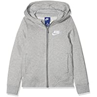 Nike G NSW HOODIE FZ CLUB Sudadera, Niñas, Gris (Dk Grey Heather/White), L