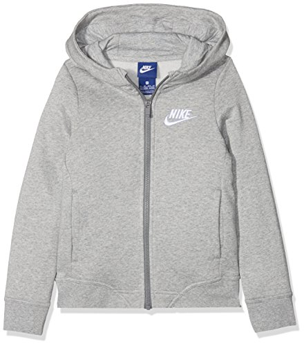 Nike Mädchen Sportswear Club Langarm Oberteil mit Kapuze Full-Zip, Dark Grey Heather/(White), L