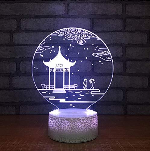 3D Led Nachttischlampen 7 Farben Kreative Wohnkultur Usb Schlafzimmer Nacht Pavillon Landschaft Tischlampe Vision Urlaub Beleuchtung Büro Kinder Geschenke -