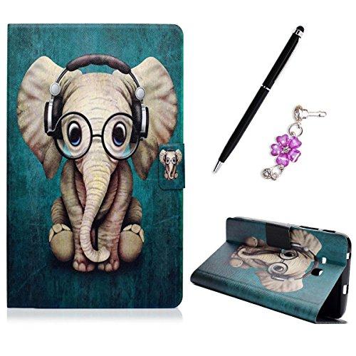 Samsung Galaxy Tab 3 Lite 7.0 T110 / T111 / T113 Fall Hülle Schutzhülle, Flip PU Leder Tablet Case Staubstecker Anti-Scratch Handyhülle, Elefant