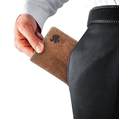 Leichtes Bifold Herren Portemonnaie vegan aus Kork (dunkel) mit Geschenkbox wasserabweisendes, robustes, handmade Portemonee (dunkel) (dunkel) - 3