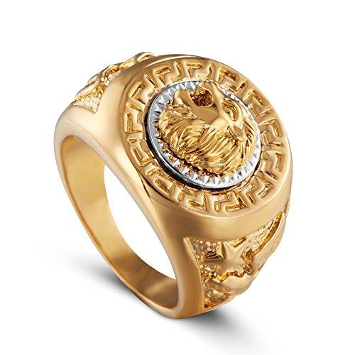 AUMRET Edelstahl Hip Hop Ring Löwe Ring Qualität Herren Titan Stahl Ring (Gold, 10)