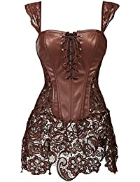 db9630df69 Women Overbust Boned Corset Dress Bustier Basques Faux Leather Lace Up