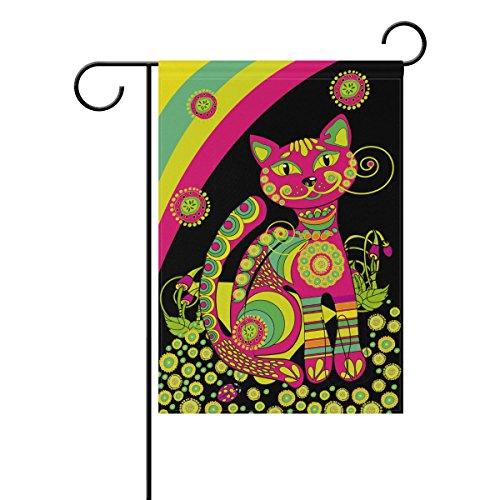 Mydaily lumineux ethnique Cat Rainbow décoratifs double face Jardin Drapeau 12 x 45,7 x 71,1 x 101,6 cm, Polyester, multicolore, 12 x 18 inch