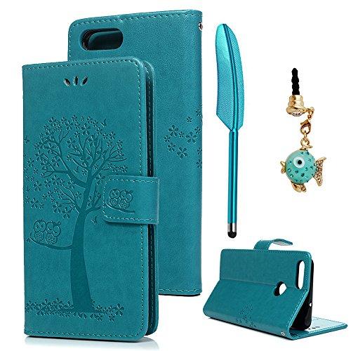 Huawei P Smart Hülle Case Tasche Eule Baum Kunstleder Brieftasche Wallet Schale Lederhülle Schutzhülle Handyhülle Standfunktion Kartenfach Magnetverschluss Bookstyle Blau