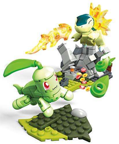 Mega Construx Pokemon Figuras Chikorita vs. Cyndaquil, Juguetes de Construcción Niños +6 Años (Mattel FVK69)