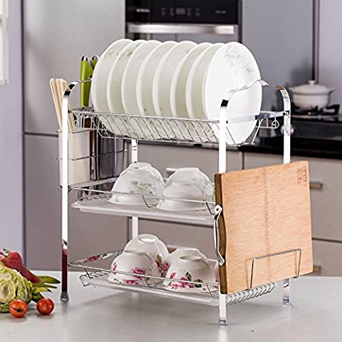 Multi-Functional Kitchen Storage shelves Pan Pot Rack, Hutch Kitchen Shelf Kitchen Shelf, Three Dish Rack Knives Holder Cup