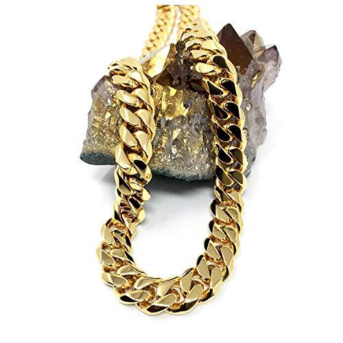 Collana a catena cubana in oro 14 ct, da uomo, 14 ct, taglio a diamante pesante con chiusura spessa e solida e 14ct metallo con base placcato oro, cod. NA
