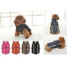 Chaleco abrigo impermeable chubasquero acolchado para mascotas complemento perfecto (Marrón, M)