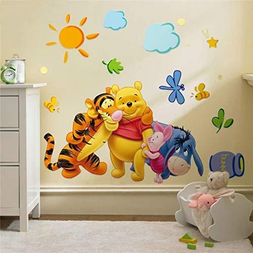 JHFVB Winnie The Pooh Freunde Wandaufkleber Kinderzimmer Dekoration Aufkleber adesivo de Parede abnehmbare PVC Wandtattoos