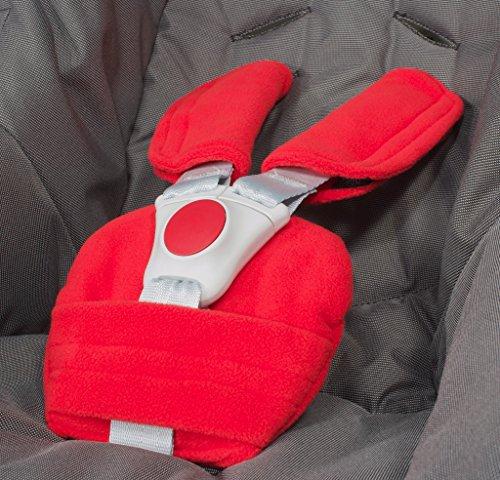 ByBoom - Gurtpolster Set - universal für Babyschale, Buggy, Kinderwagen, Autositz (z.B. Maxi Cosi City SPS, Cabrio, Cybex Aton usw.); In vielen Farben; MADE IN EU, Farbe:Rot