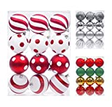 Shatterproof Christmas Tree Baubles Decorations Classic Xmas Trees Party Ball Ornaments 12 pcs by Art Beauty (80mm, Red and White)