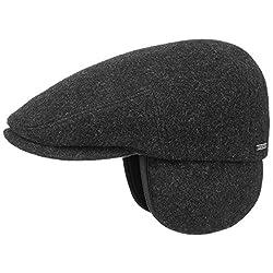 Stetson Kent Wool Ohrenklappen Flatcap Herren - Made in EU - Schiebermütze mit Ohrenklappen - Flat Cap mit Kaschmir - Ohrenmütze Herbst/Winter - Schirmmütze anthrazit XL (60-61 cm)