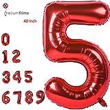 Globos de números de color rojo