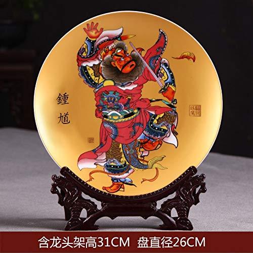 TapTheDecor Dekorative Platte Mit Drachen Geformt, Alte China Malerei, Handgefertigte Weißer Keramik Kunst Dekoration Ornament Platten Für Display Wohnzimmer Tisch Einrichtung, Links Wall-mount-plate Rack