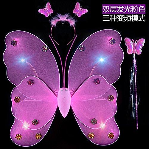 Damjic Kostüme Kostüme Engel Schmetterlinge Leuchtende Spielzeug Halloween Fairy Wings (Girl Cute Alien Kostüm)