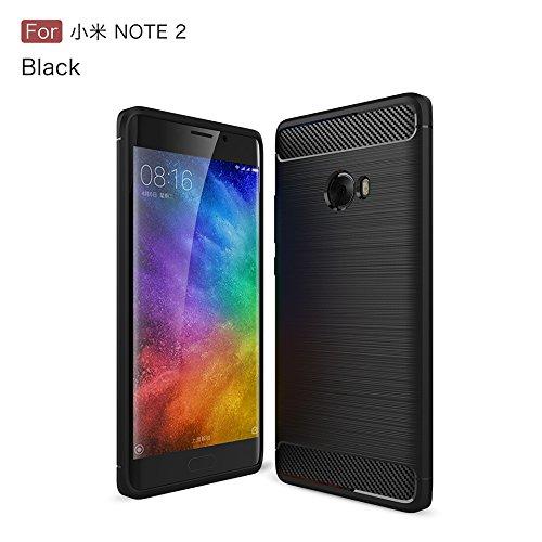 Ownstyle4you - Xiaomi Mi Note 2 Schwarz Brushed Hülle Schutzhülle Wasserabweisend Outdoor Case Cover Bumper Anti-Scratch Plating TPU Silikon Rückschale Handyhülle Handytasche ink. Panzerglasfolie