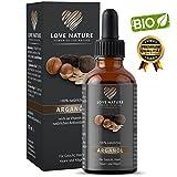 Love Nature BIO Arganöl 100ml | kaltgepresst | feuchtigkeitsspendendes Serum für Haare, Haut, Gesicht, Nägel, Anti Aging Serum , u.v.m | Premium Qualität| Hergestellt in Deutschland