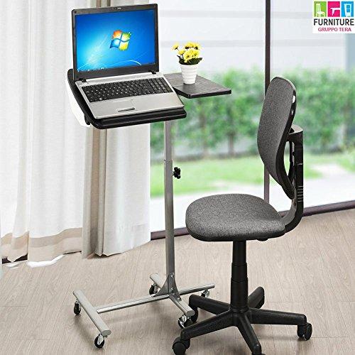 BAKAJI Tavolino Porta PC Notebook Laptop con Rotelle Altezza Regolabile 60 x 40 x 70/90cm, Carrello Alto Showroom, Tavolino Scrivania ausiliare casa e Ufficio
