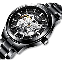 Relojes Hombre Reloj Mecánico Automático Deportes Impermeable Oro Esqueleto Lujo Diseño Relojes de Pulsera de Acero