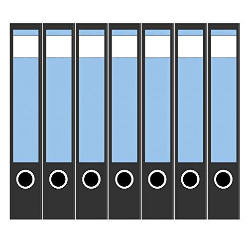 7 x Akten-Ordner Etiketten/Design Aufkleber/Rücken Sticker/mit Farbe Helles Blau/für schmale Ordner/selbstklebend / 3,7 cm breit