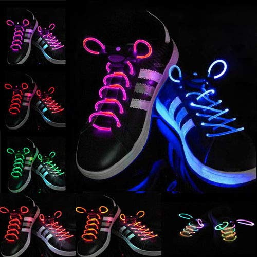 LaDicha 1 Pair Cool 19 Color For Pick Led Flashlight Up Glow Shoelaces Party Decoration Toys - Pink+White