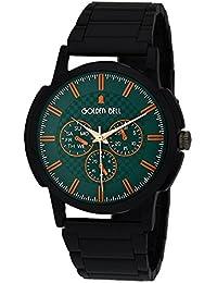 Golden Bell Original Green Dial Black Steel Chain Analog Wrist Watch For Men - GB-985